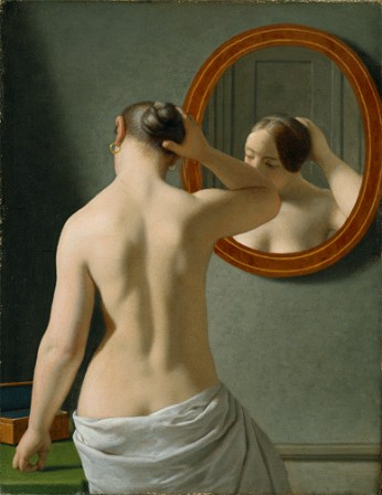 A nude woman doing her hair before a mirror C. W. Eckersberg poux.gif