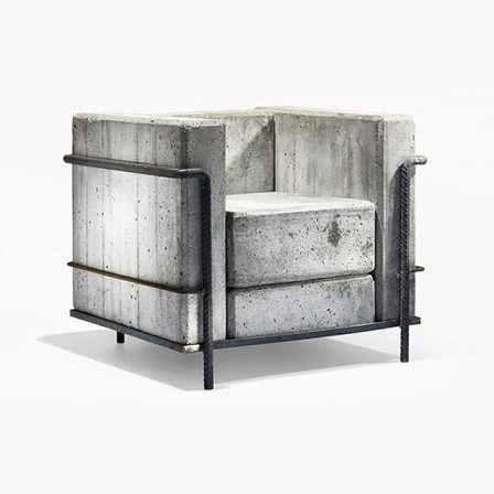 Le Corbusier Pierre Jeanneret and Charlotte Perriand in 1928 The cube chair béton.jpg