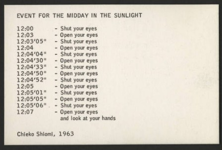 Mieko Shiomi, Event for the Midday in the Sunlight, 1963 que faire aujourd'hui programme du jour.jpg, avr. 2020