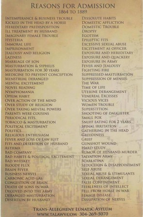 Reasons for admission into the Trans-Allegheny Lunatic Asylum in West Virginia from 1864 to 1889.jpg