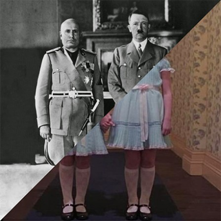 Hitler s visit in Italy Hitler and Mussolini in Rome on May 4 1938 VS Stanley Kubrick The Shining 1980.jpg