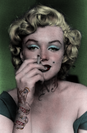 Marilyn Monroe cigarette The French are glad to die for love but Diamonds are a girl's best friend.png, nov. 2019