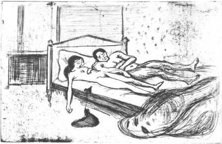 Edvard Munch, The Dead Lovers, 1901, Etching les amants morts.jpg, sept. 2020
