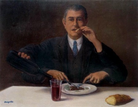 René Magritte The magician Self-portrait with four arms 1952 bon appétit.jpg