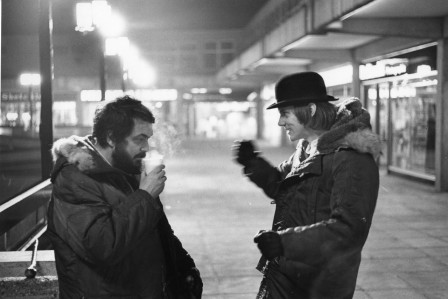 Stanley Kubrick & Malcolm McDowell on the set of A clockwork orange.jpg