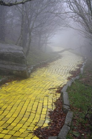 The eerie yellow brick road of abandoned Land of Oz theme park in North Carolina chemin jaune.jpg