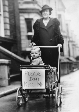 """Please Don't Kiss Me!"" A mom asks not to kiss her baby to avoid catching the flu in the 1930's.jpg, mar. 2020"